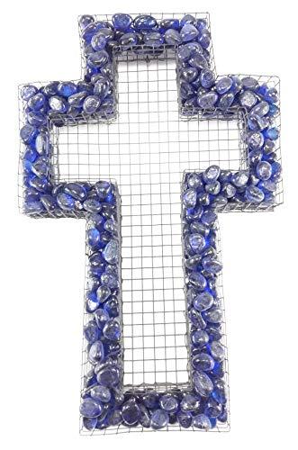 Gartenwelt Riegelsberger Grille en forme de croix avec petits galets en verre Blu (bleu) pour décoration funéraire de Toussaint, décoration funéraire