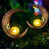 FS Fushield 2pcs Luces Solares Eexteriore Luz Solar Jardín, Impermeables LED Luna Lámparas Solares Blanco Cálido para Terraza Césped Caminos Yarda Decoración - Encendido/Apagado Automático