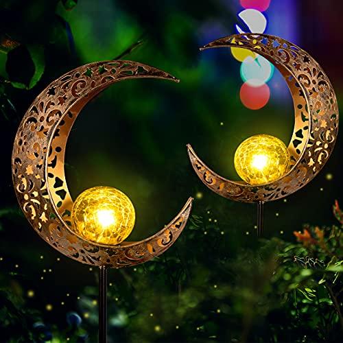 FS Fushield Solarleuchten für Außen Garten Deko, 2 Stück Solar Mond Lampe LED Solar Gartenleuchten wasserdichte Metall Warmweiß Gartenlicht für Terrasse Rasen Wege Hof Dekoration