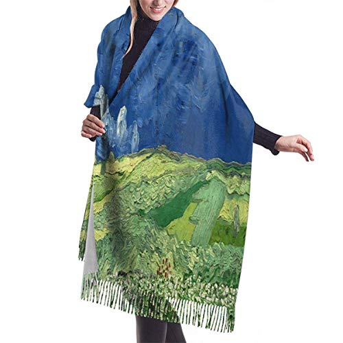 JJsister Bufandas de Mujer,Bufanda Chales para Mujer, Women's Long Shawl Van Gogh Painting Wheat Field Under Clouded Sky Winter Warm Pashmina Scarf with Tassel