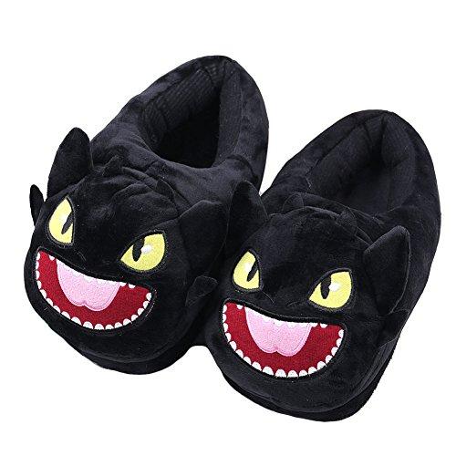 Dracarys Inner Warm Winter Slipper - gemütlicher weicher Plüsch Lustige Comic Kitty und Dragon Slippers - für Erwachsene Kids Teens Warm Home Slipper