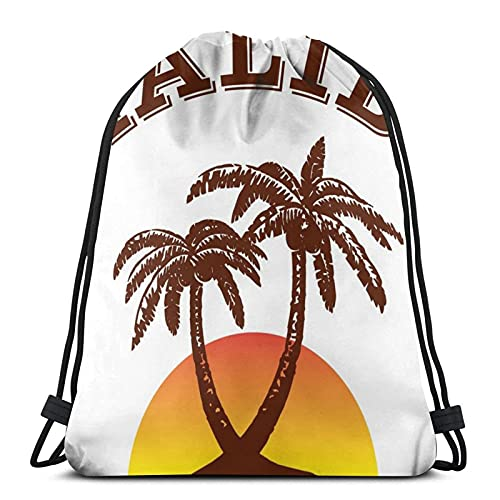 Malibu Ron - Mochila con cordón unisex con cordón, bolsa de deporte, bolsa grande con cordón, mochila de gimnasio a granel