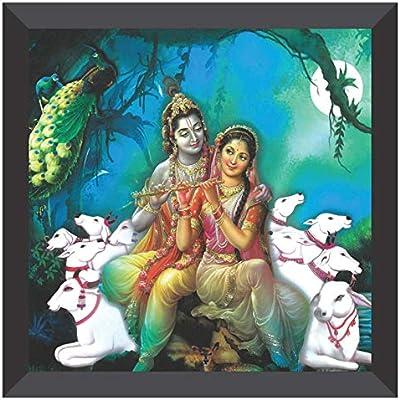 SAF UV Coated Radha Krishna Multi Effect Digital Reprint Painting (Multicolor, 12 inch X 12 inch, SANF21021)