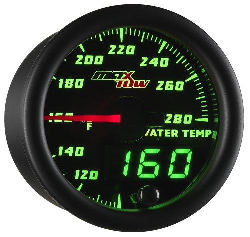 MaxTow Double Vision 280 F Water Coolant Temperature Gauge Kit - Includes Electronic Sensor - Black Gauge Face - Green LED Illuminated Dial - Analog & Digital Readouts - for Trucks - 2-1/16