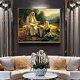 Cuadro famoso de Jesús y la mujer samaritana, carteles e impresiones, arte de pared, pintura en lienzo para la decoración del hogar de la sala de estar, 20x30 cm (7,9x11,8 pulgadas) Marco interno