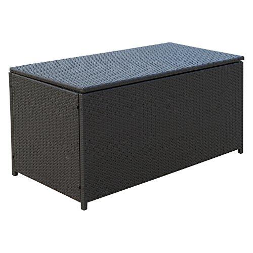 Outsunny Kissenbox Auflagenbox Gartenbox Polyrattan Garten Metall Braun L118 x B54 x H59cm