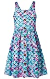 Big Girls Blue Dress Sundress Size 10-12 Mermaid Dresses Cool Summer Clothing for Street Seaside Outdoor Back to School 13 Years Old