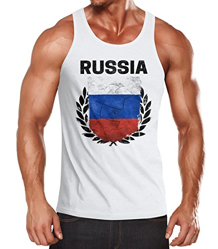 MoonWorks MoonWorks EM WM Tanktop Fanshirt Herren Fußball Russland Flagge Russia Vintage Muskelshirt weiß M