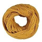 TININNA Bufanda Unisex, Otoño Invierno Cálida Circle Bufanda de Abrigo de Cuello de Punto para Mujer y Hombre-Amarillo