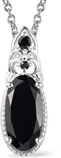 """Womens Black Tourmaline Black Spinel Black Onyx 925 Sterling Silver Platinum Plated Chain Pendant Necklace For Women 20"""""""