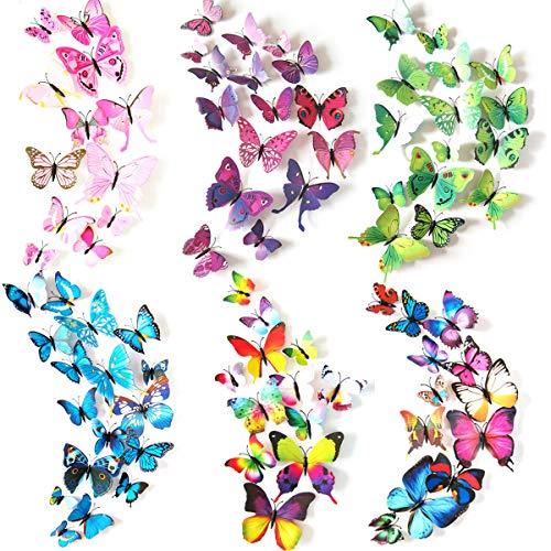 Crazy-m 72 Stück 3D Schmetterling Aufkleber Wandsticker Wandtattoo Wanddeko für Wohnung, Raumdekoration Klebepunkten+ Magnet Raumdekoration mit klebebuttons und Magnet