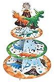 Soporte de Magdalenas de Cartón - Suministros de Fiesta de Dinosaurio para Niños Chicos Soporte de Cupcakes de Cartón de 3 Niveles Postre Decoración de Fiesta de Cumpleaños de Dino Acuarela