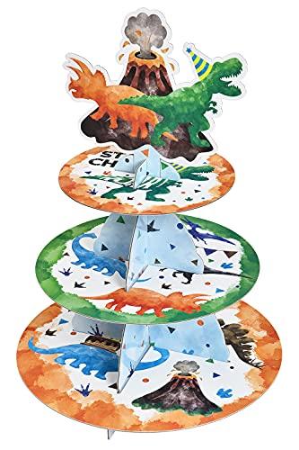 Watercolor Dinosaur Cupcake Stand - Dinosaur Birthday Party...