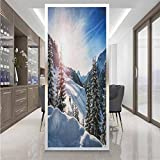 Glass sticker Window film W 23.6' x L 35.4' Office door privacy sticker,UV Blocking Heat Control Glass Sticker,Winter,Europe Alps Rising Sun Peaceful Quiet Morning Scenery Snowy Hills Icy Weather,Blue