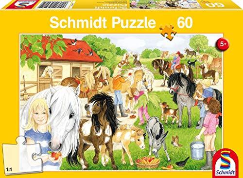 Schmidt Spiele Puzzle 56205, gelb, Spaß auf dem Ponyhof, 60 Teile