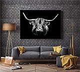 ganlanshu Rahmenloses Gemälde Schwarz HD Bull Bull Löwe Wand Leinwand Kunst Nordic Poster...