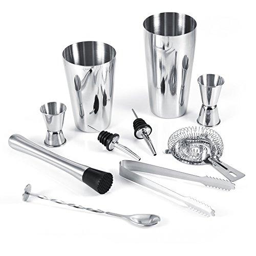 10-teiliges Cocktail Shaker Set 600ml Shaker + 750ml Shaker + 20 / 40ml Messbecher + 15 / 30m Messbecher + Eiszange + Eisbrecher + Eissieb + 2 * Ausgießer + Rührlöffel - Professionelle Werkzeuge