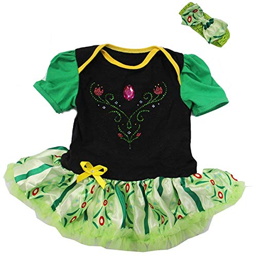 Amedahk Baby Princess Coronation Costume Bodysuit Dress S Green