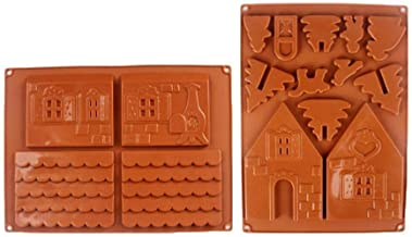 SharpointHome Christmas House Chocolate Mould Diy Gingerbread House Silicone Baking Mold