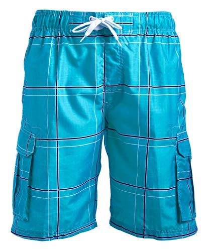 Kanu Surf Men's Echelon Swim Trunks (Regular & Extended Sizes), Flex Aqua, Large