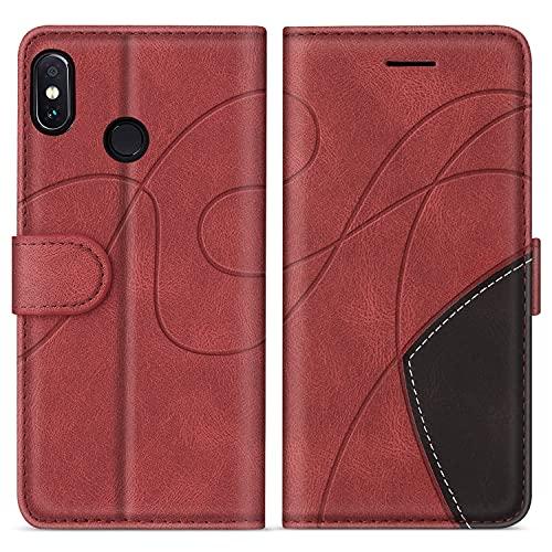 SUMIXON Hülle für Xiaomi Redmi Note 6 Pro, PU Leder Brieftasche Schutzhülle für Xiaomi Redmi Note 6 Pro, Kratzfestes Handyhülle mit Kartenfächern & Standfunktion, Rot