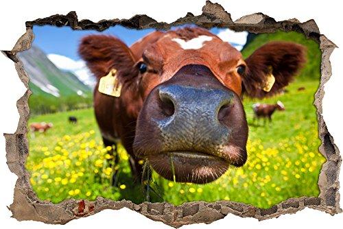 Pixxprint 3D_WD_S2205_92x62 witzige Kuh auf wundervoller Bergwiese Wanddurchbruch 3D Wandtattoo, Vinyl, bunt, 92 x 62 x 0,02 cm