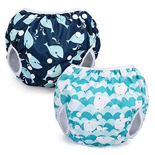 Teamoy Pañales reutilizables para nadar (paquete de 2), pañales ajustables para traje de baño, fundas lavables para bebés, niños y niñas, Ballena + ballena linda