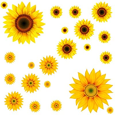 22Pcs DIY Sunflower Wall Sticker 3D Yellow Flower Wall Decals Peel and Stick Removable Wall Art Decor Nursery Daisy Floral Stickers for Kids Baby Living Room Decoration