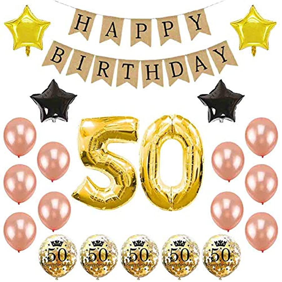 50th Birthday Party Decorations Kit – Number 50 Foil Balloon Burlap Happy Birthday Banner Rose Gold Birthday Balloons Star Foil Balloon Confetti Balloons for 50th Birthday (Burlap)