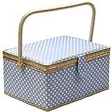 D&D, scatola da cucito con kit da cucito con accessori, cestino organizer in legno con accessori per la casa e per i viaggi, color blu a pois, grande large Blue