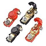 JIZZU 4 Pezzi Connettori di Batteria a Sgancio Rapido con Morsetti Batteria Auto Positivi & 12V/24V/48V, Copri Batteri Auto, Morsetti per Batteria Terminali per Auto Camion, Barca