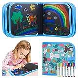 Portatile da Disegno per Bambini, Doodle Disegno Giocattoli per Bambini,Libro di Pittura per Bambini con 14 Pagine e 12 penne colorate, Lavagna a Doppia Faccia, Reuseful Lavabile, Casa Portatile