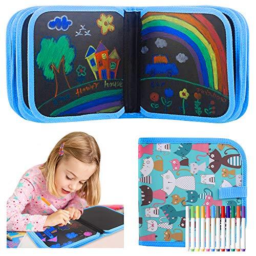 Tabla de Dibujo Portátil para Niños, Tablero de Dibujo de Graffiti con 12 bolígrafos mágicos e 14 Página, Juguete Educativo, Regalo Ideal para niños, no Tóxicos, Reutilizable