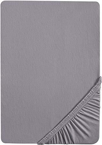 biberna 0002744 Feinbiber Spannbetttuch (Matratzenhöhe max. 22 cm) (Baumwolle) 140x200 cm -> 160x200 cm, silber/grau