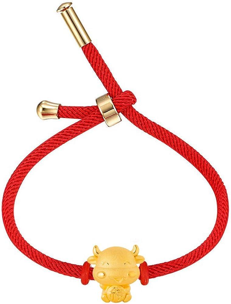 MONIYA 2021 Year of Ox Red String Bracelet Chinese Zodiac Animal Birth Year Lucky Charm Bracelet for Women Men, Adjustable