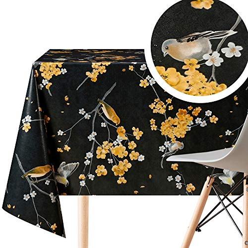 Black Graphite Birds on Cherry Flowers Wipe Clean Tablecloth - Rectangular 250x140 cm | 98x55in 8 Seats, Waterproof Vinyl PVC Wax Wipeable Smooth Plastic Table Cloths - Dining and Outdoor Table Cover