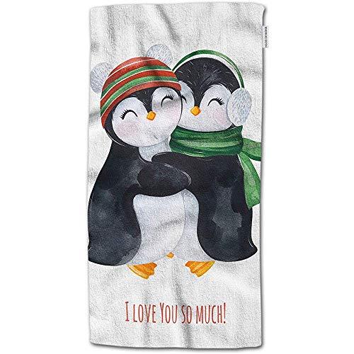 W-wishes Badetuch-Pinguine, niedliche Aquarell-Umfassungs-Pinguine im Winter gestrickten Kleidungs-Handtuch-Gesichts-Tuch