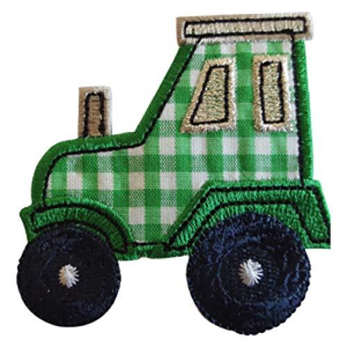 TrickyBoo 2 opstrijkbare tractor 7 x 7 cm walvis 8 x 8 cm set patch applicaties voor het repareren van kinderkleding met design Zürich Zwitserland voor Duitsland en Oostenrijk