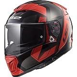 LS2 NC Casco per Moto, Hombre, Negro/Rojo, XL