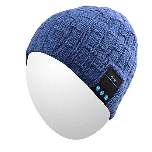 Qshell Washable Bluetooth Beanie Winter Hat Short Skully Cap with Bluetooth Stereo Headphones Mic Hands Free Rechargeable Battery Compatible with Mobile Phones, iPhone, iPad, Laptops, Tablets - Blue