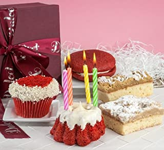 Dulcet Gift Baskets Happy Birthday Red Velvet Collection, Fresh Cake For Delivery, Best for Family & Friends, Women and Men.