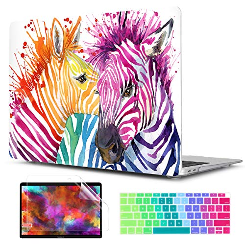 TwoL Watercolor Horse Hard Plastic Case Cover and Keyboard Skin for New MacBook Air 13 inch 2018-2020 Release with Retina Display