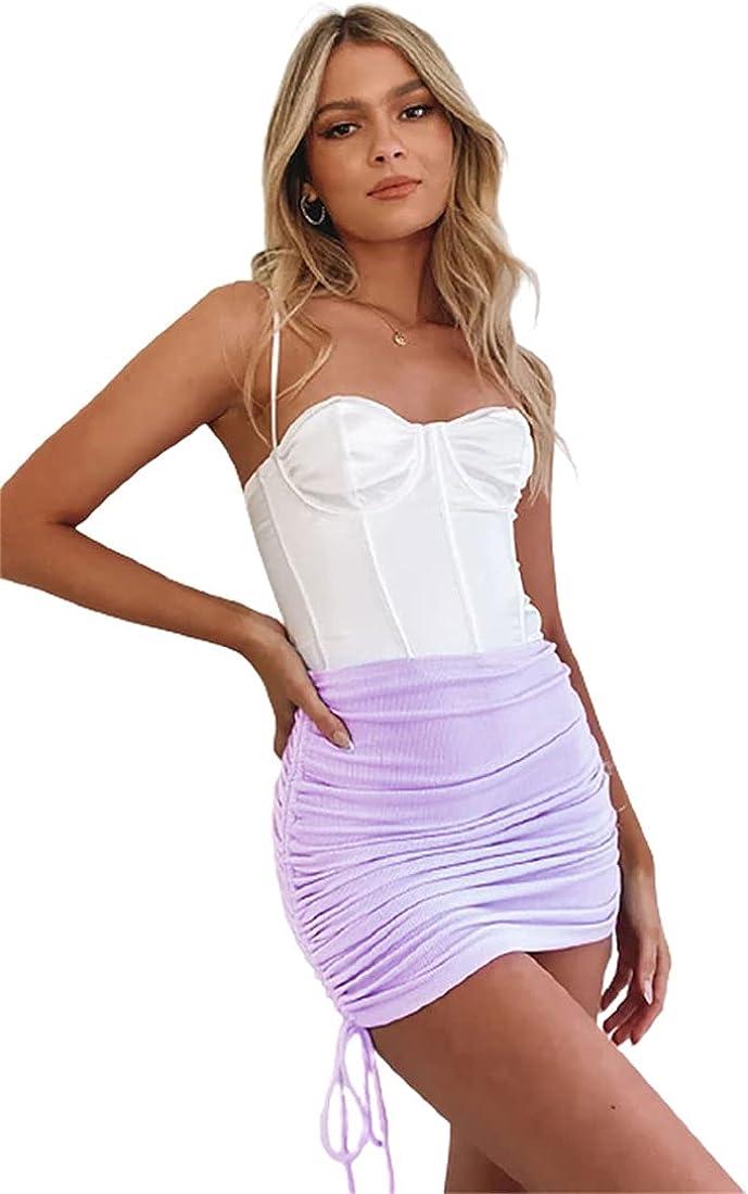 ebossy Women's Stretchy Ribbed Ruched Side Drawstring Knited Shirring Short Mini Skirts