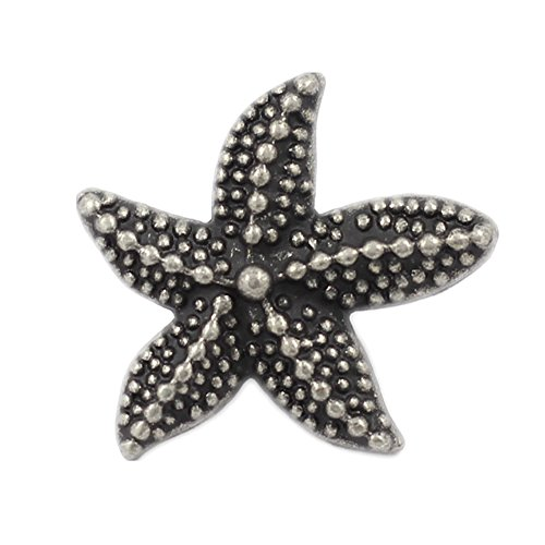 Bezelry 12 Pieces Starfish Antique Silver Metal Shank Buttons 19mm (Antique Silver)