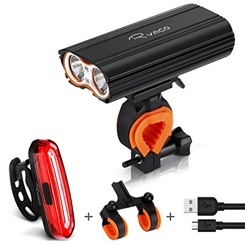 RYACO Bike Lights, USB Rechargeable Bicycle Headlight Light 2400 Lumens Headlamp Set with 4400mAh, 2x LED, 4 Modes, IP65 Waterproof Cycling Mountain with 2 Bracket, Taillight for Night, Flashlight