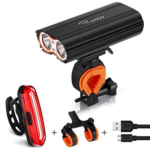 Ryaco Luz Bicicleta Recargable USB, 4 Modos 2400 Lúmenes IP65 Impermeable, Linterna...