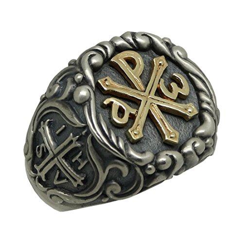 Tempelritter Chi Rho Gold 10?K und Silber 925?Alfa Omega Herren Ring Konstantin Kreuz, ihsv???in Hoc Signo Vinces - 59 (18.8)