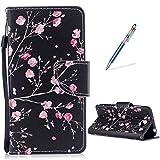 Keteen Cover per Huawei Y5II/ Y6II Compact Flip Case, Libro Portafoglio Cuoio in Pelle PU Morbido Sottile TPU Resistente Custodia per Huawei Y5II/ Y5 2/ Y6II Compact + Stilo Penna - Fiore d'Epoca