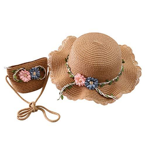 Flores Sombrero de Paja y Bolso Niñas Verano Dos Piezas Proteccion Solar Gorra de Sol 2 a 8 años Niños Al Aire Libre Paja Hat Transpirable Anti-UV Sombrero de Playa