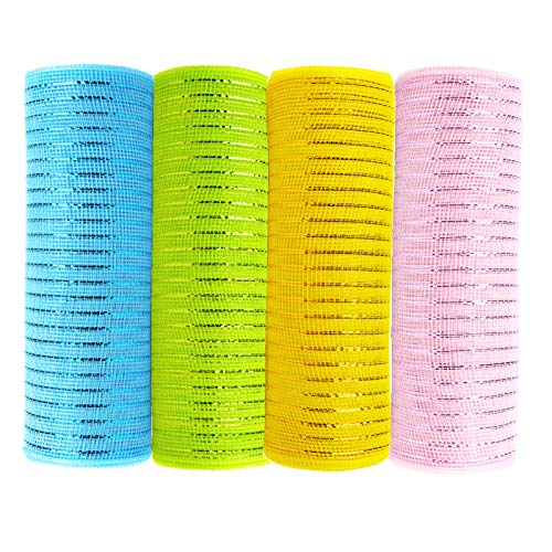 4 Rolls 10 Inch x 10 Yards Easter Deco Poly Mesh Ribbon - Metallic Foil Deco Poly Mesh Set for Crafts,Making Wreaths,Swag,Bows and Garland (Pink/Blue/Yellow/Green)